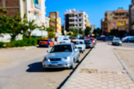 Abstract and blurred background of many cars in street Reklamní fotografie