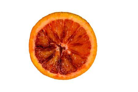Slice of sicilian orange isolated on white background