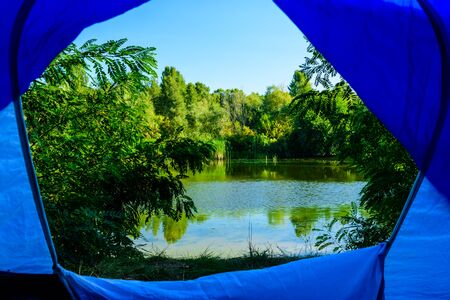 View on river from tent in morning