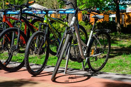 Kremenchug, Ukraine - April 24, 2017: Bikes in a city park