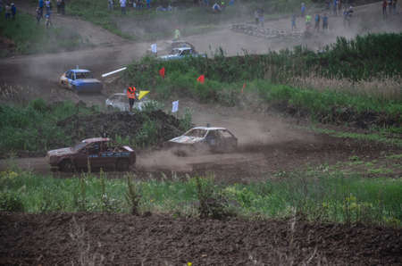 Alexandria, Ukraine - June 10, 2017: Race of the old wrecked cars. Rally on the open air with dust