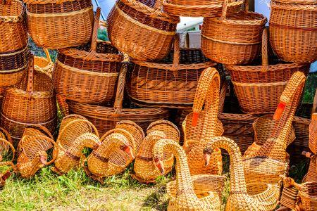 Wicker baskets for sale on street fair 写真素材