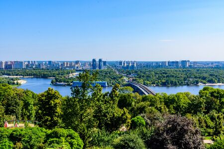 View on residential districts on left bank of river Dnieper in Kiev, Ukraine