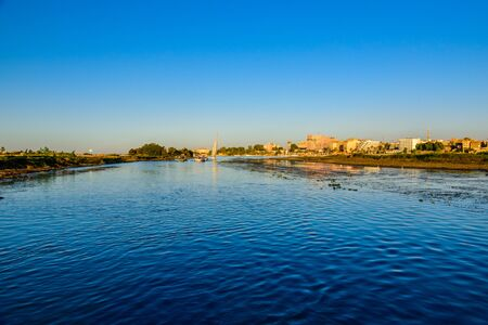 Different vessels on Nile river in Luxor, Egypt.