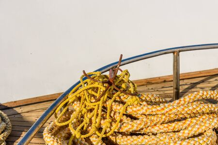 Ropes and different tackles on a yacht
