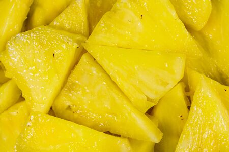 Pieces of the chopped pineapple for background Stockfoto