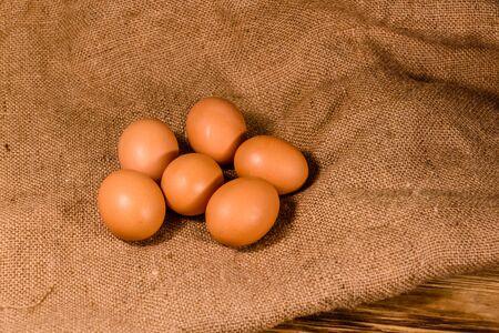 Pile of hen eggs on a sackcloth Reklamní fotografie