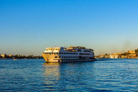 Big cruise ship on river Nile in Luxor, Egypt Stock fotó