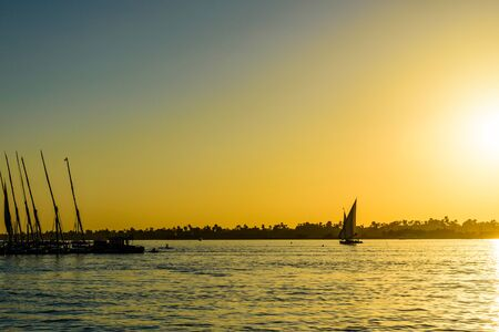 View on Nile river at sunset. Luxor, Egypt