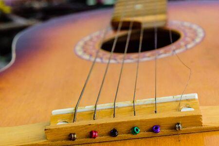 Six string acoustic guitar. Classical (spanish) guitar. Closeup 版權商用圖片