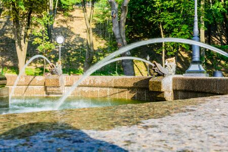 Closeup of fountain in city park on summer 版權商用圖片