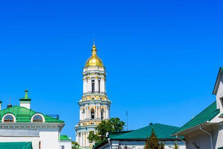 Bell tower of Kiev Pechersk Lavra against blue sky Stockfoto - 130697699