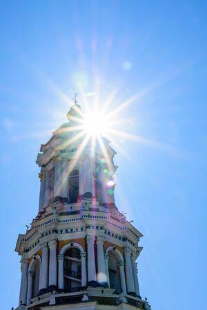 Bell tower of Kiev Pechersk Lavra against blue sky Stockfoto - 130697702