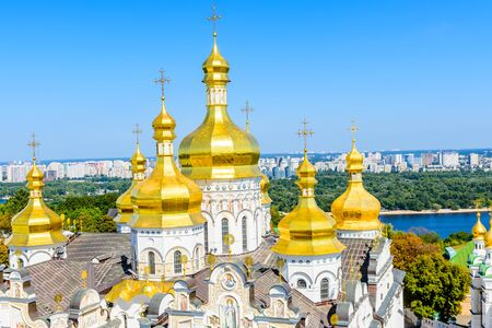View on Dormition Cathedral of Kiev Pechersk Lavra, river Dnieper and Kiev cityscape