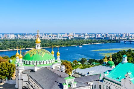 View on Refectory church of Kiev Pechersk Lavra, river Dnieper and Kiev cityscape Stock fotó