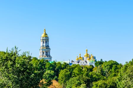 View on bell tower of Kiev Pechersk Lavra Imagens