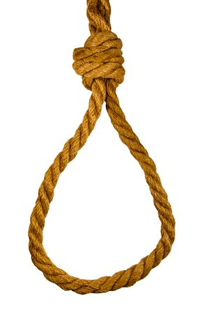 Rope with noose for suicide isolated on white background Stock Photo