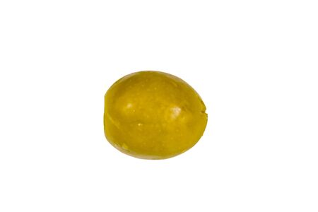 One green olive isolated on white background