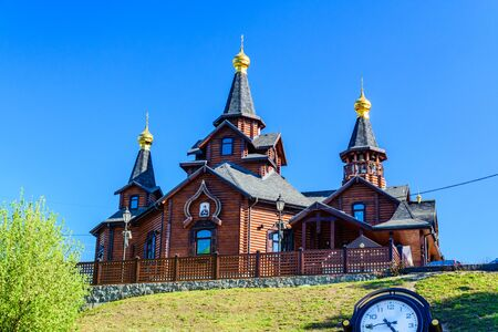 The temple in honor of icon of the Mother of God Joy and Consolation in Kharkov, Ukraine. Traditional wooden orthodox church