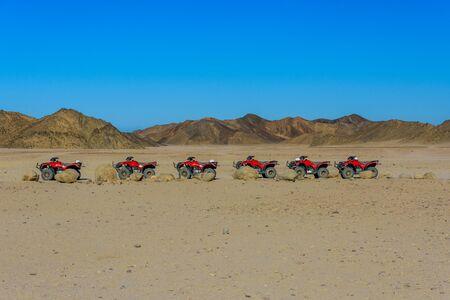 Quad bikes in Arabian desert not far from Hurghada city, Egypt