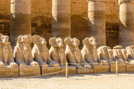 Avenue of the ram-headed Sphinxes in Karnak Temple. Luxor, Egypt