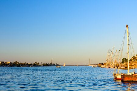 View on Nile river in Luxor, Egypt Banco de Imagens