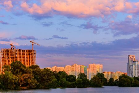 View on bay of river Dnieper and residential districts in Kiev, Ukraine