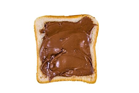 Sandwich with chocolate spread isolated on white background