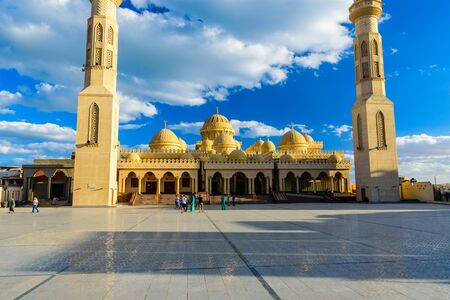 Hurghada, Egypt - December 6, 2018: People near the mosque El Mina Masjid in a Hurghada city, Egypt Editorial