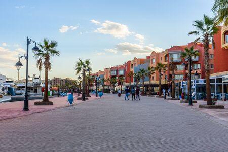 Hurghada, Egypt - December 6, 2018: View on New Marina boulevard in Hurghada city