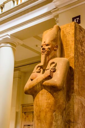 Cairo, Egypt - December 8, 2018: Statue in Museum of Egyptian Antiquities (known commonly as the Egyptian Museum or Museum of Cairo)