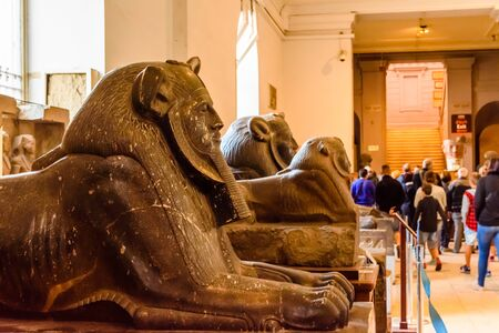 Cairo, Egypt - December 8, 2018: Sphinxes in Museum of Egyptian Antiquities (known commonly as the Egyptian Museum or Museum of Cairo) Editorial