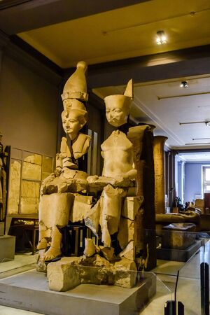 Cairo, Egypt - December 8, 2018: Statues in Museum of Egyptian Antiquities (known commonly as the Egyptian Museum or Museum of Cairo)