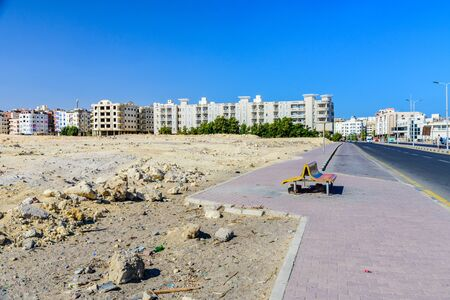 Hurghada, Egypt - December 9, 2018: View of the wide street in Hurghada city, Egypt Editorial