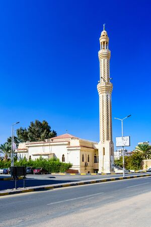 Hurghada, Egypt - December 9, 2018: Mosque in Dahar district (old town of Hurghada city), Egypt