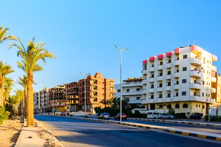 Hurghada, Egypt - December 9, 2018: Street in Dahar district (old town of Hurghada city), Egypt
