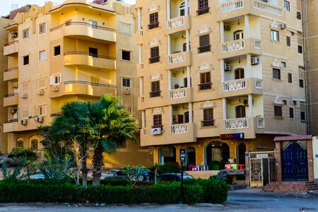 Hurghada, Egypt - December 9, 2018: Shop on street in Hurghada city, Egypt