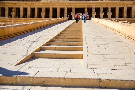 Luxor, Egypt - December 11, 2018: People in temple of Hatshepsut. Luxor, Egypt Editorial