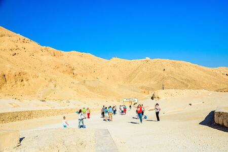 Luxor, Egypt - December 11, 2018: Tourists in valley of kings. Luxor, Egypt