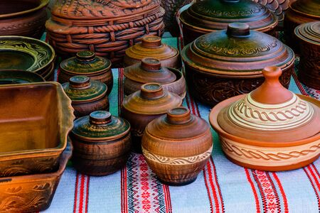 Different clay utensil for sale on country fair