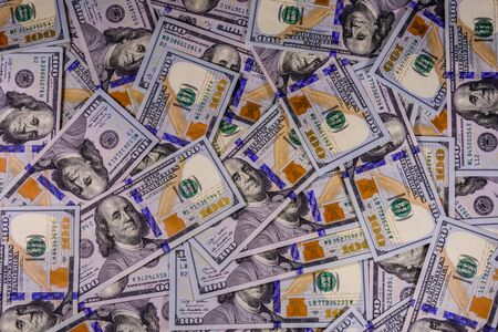 Background of the one hundred dollar banknotes Imagens