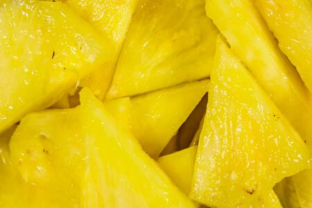 Pieces of the chopped pineapple for background