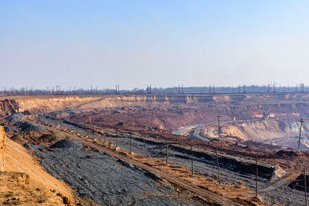 View on iron ore quarry in dust haze 版權商用圖片