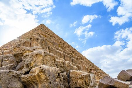 Closeup view on great pyramid of Cheops in Giza plateau. Cairo, Egypt Reklamní fotografie