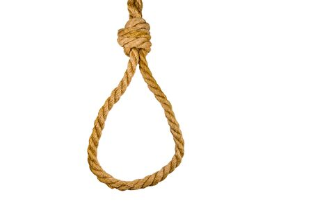 Rope with noose for suicide isolated on white background Reklamní fotografie