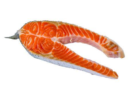 Steak of salmon fish isolated on white background Reklamní fotografie