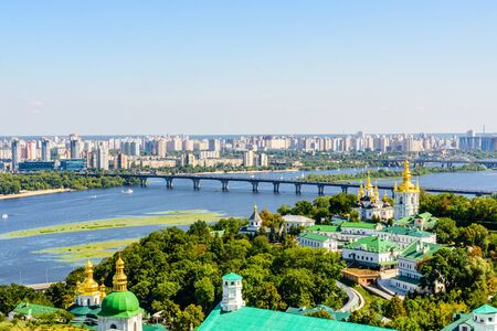 View on Church of Nativity of Blessed Virgin Mary of Kiev Pechersk Lavra, river Dnieper and Kiev cityscape