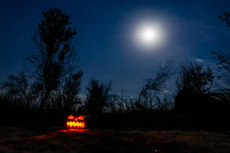 Carved halloween pumpkin jack-o-lantern with burning candles glows in darkness. Spooky landscape Foto de archivo