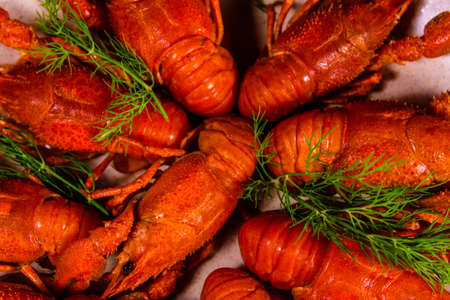 Background of the fresh red boiled crayfishes Archivio Fotografico