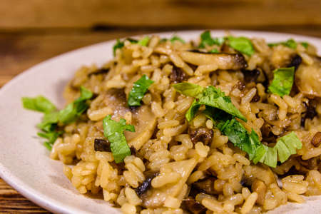 Risotto with mushrooms and parsley in plate Archivio Fotografico